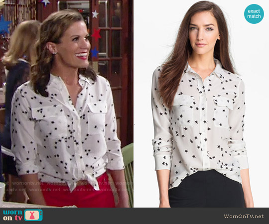 Equipment Starry Night Silk Shirt worn by Chelsea Lawson (Melissa Claire Egan) on The Young & the Restless