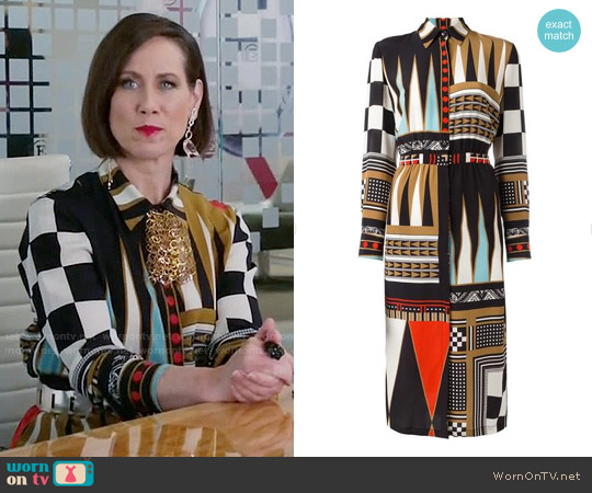 Etro Geometric Print Shirt Dress worn by Miriam Shor on Younger