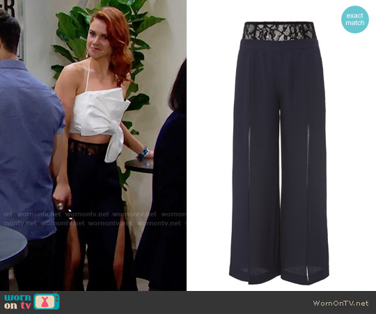 Fleur Du Mal Lace Trim Slit Front Pants worn by Sally Spectra on The Bold & the Beautiful