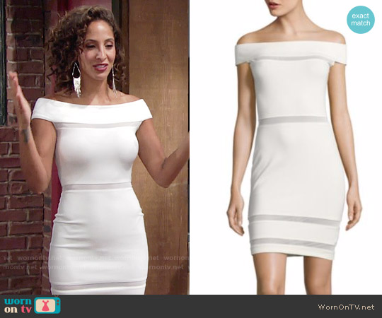 French Connection Lula Off Shoulder Dress worn by Christel Khalil on The Young & the Restless
