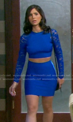 Gabi's blue lace sleeve crop top and skirt on Days of our Lives