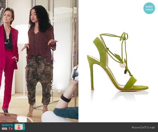 Gianvito Rossi Cherry Suede Ankle-Tie Sandals worn by Aisha Dee on The Bold Type