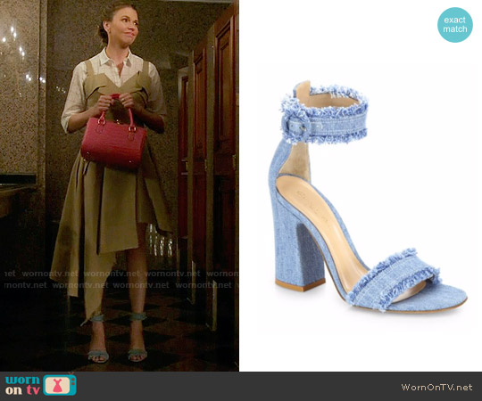 Gianvito Rossi Kiki Frayed Denim Sandals worn by Liza Miller on Younger