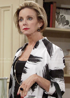 Gloria's brush stroke print jacket on The Young and the Restless