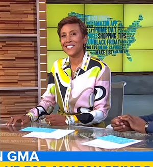 Robin's graphic print blouse on Good Morning America