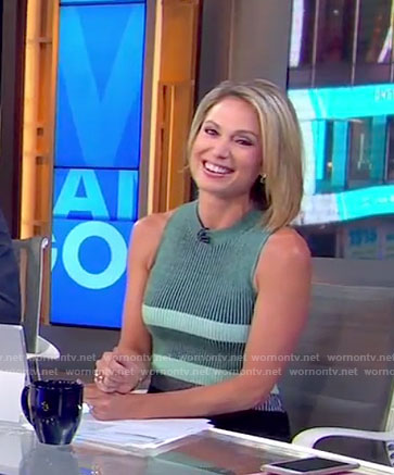 Amy's green and black ribbed mini dress on Good Morning America