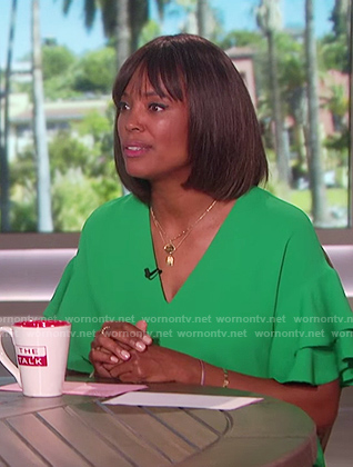 Aisha's green frilled sleeve dress on The Talk