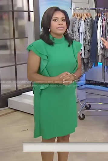 Sheinelle's green ruffled sleeve mini dress on Today