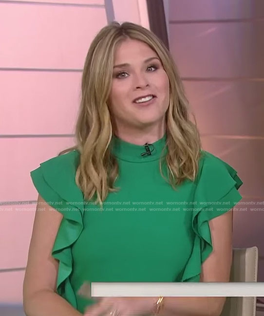 Jenna's green ruffled sleeve mini dress on Today
