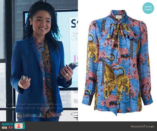 Gucci Bengal Blouse worn by Aisha Dee on The Bold Type