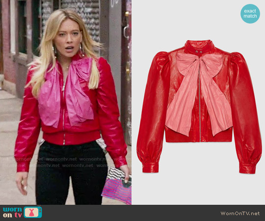 Gucci Leather Jacket with Bow worn by Hilary Duff on Younger