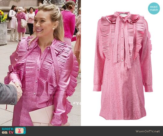 Gucci Lurex Pleated Dress worn by Kelsey Peters (Hilary Duff) on Younger