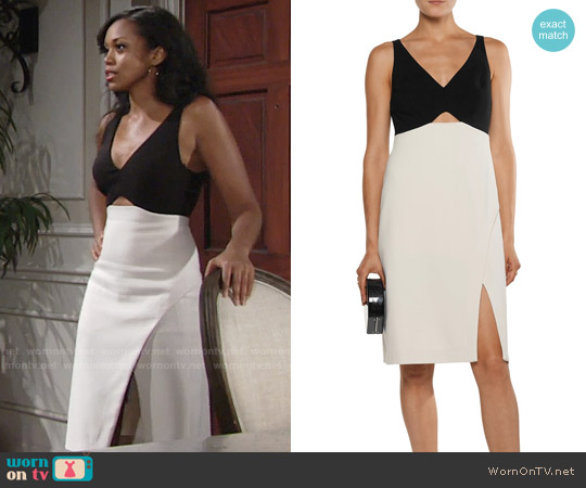 Halston Heritage Two-tone cutout cady dress worn by Mishael Morgan on The Young & the Restless