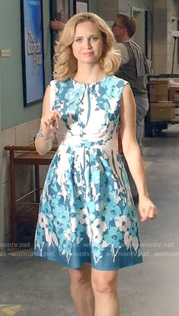 Heather's blue and white floral dress on Daytime Divas