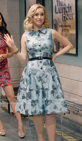 Heather's blue rose print shirtdress on Daytime Divas