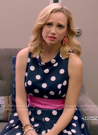 Heather's navy polka dot dress with pink sash on Daytime Divas