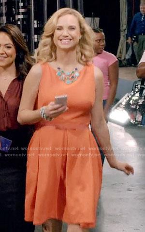 Heather's orange dress with bow belt on Daytime Divas