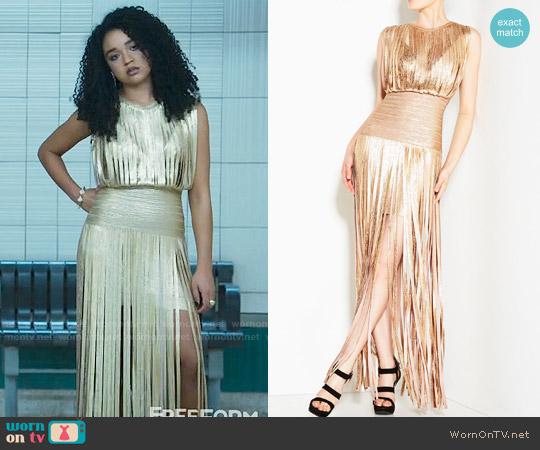 Herve Leger Selena Foil Draped Bandage Dress worn by Kat Edison (Aisha Dee) on The Bold Type