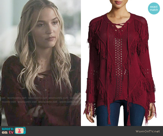 Hiche Fringe Open-Knit Lace-Up Sweater worn by Lennon Stella on Nashville