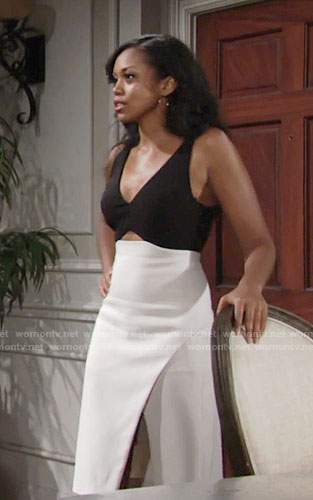 Hilary's black and white dress with front cutout on The Young and the Restless