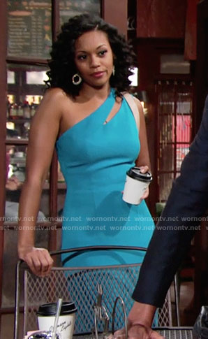 Hilary's blue dress with slash cutout on The Young and the Restless