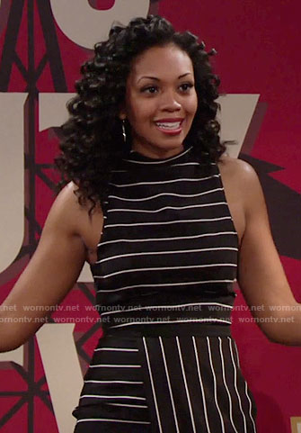 Hilary's black striped wrap dress on The Young and the Restless