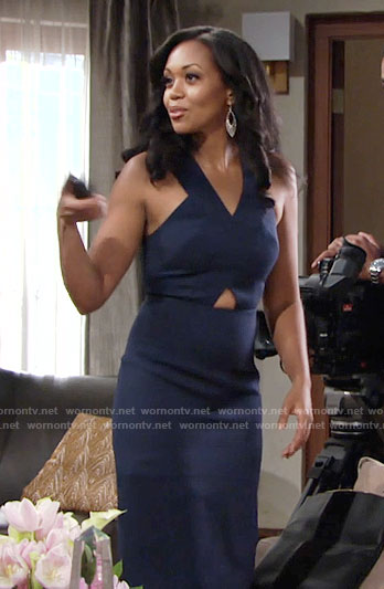 Hilary's navy dress with triangle cutout on The Young and the Restless