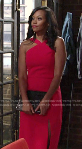 Hilary's pink cross strap dress on The Young and the Restless