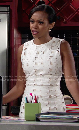 Hilary's white floral leather dress with cutouts on The Young and the Restless