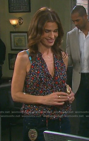 Hope's sleeveless floral tie-neck top on Days of our Lives