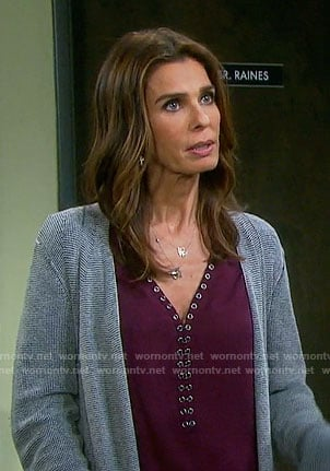 Hope's purple grommet trim blouse on Days of our Lives