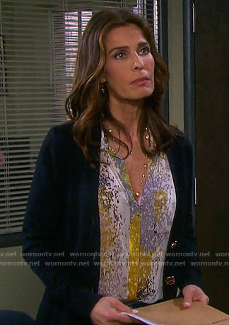Hope's yellow abstract printed shirt on Days of our Lives