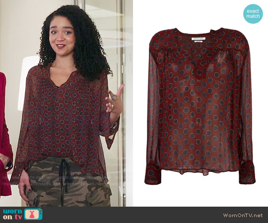 Etoile Isabel Marant Bowtie Blouse worn by Aisha Dee on The Bold Type