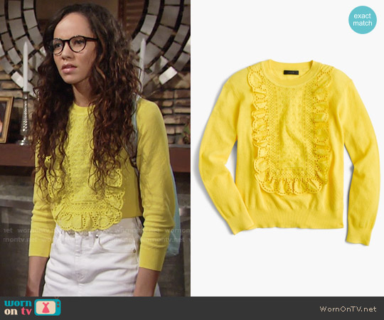 J. Crew Eyelet sweater in summerweight cotton worn by Lexie Stevenson on The Young & the Restless