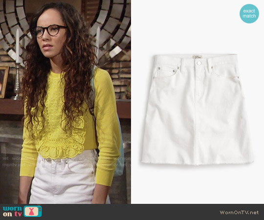 J. Crew White denim skirt with raw hem worn by Mattie Ashby on The Young & the Restless