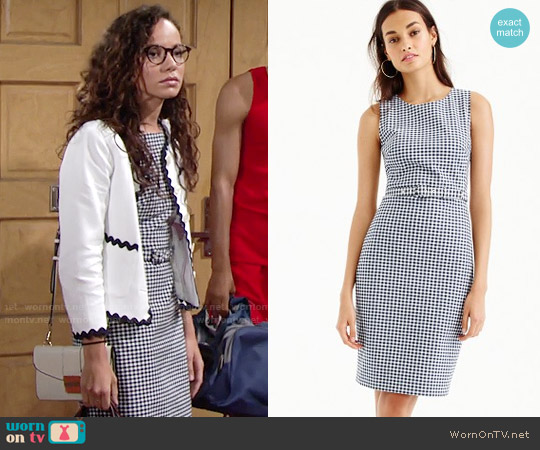 J. Crew Belted Gingham Dress worn by Lexie Stevenson on The Young & the Restless