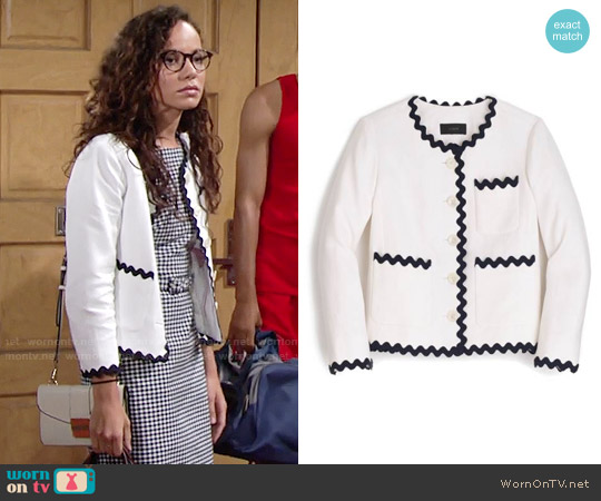 J. Crew Lady Jacket with Rickrack Trim worn by Mattie Ashby on The Young & the Restless