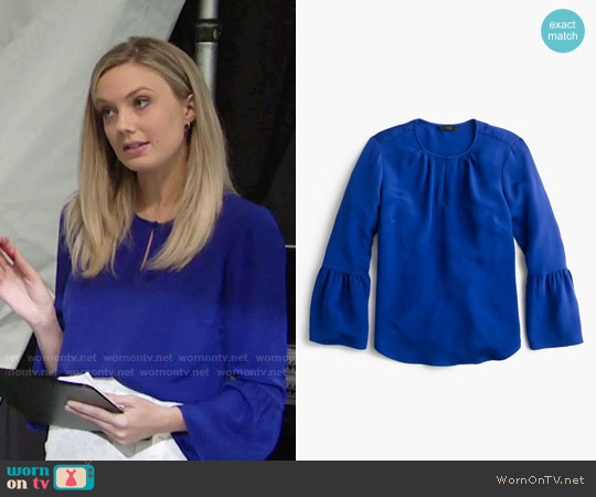 J. Crew Silk Bell Sleeve Top worn by Abby Newman (Melissa Ordway) on The Young & the Restless
