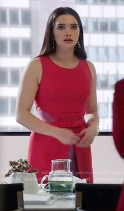 Jane's red dress with pink panels on The Bold Type