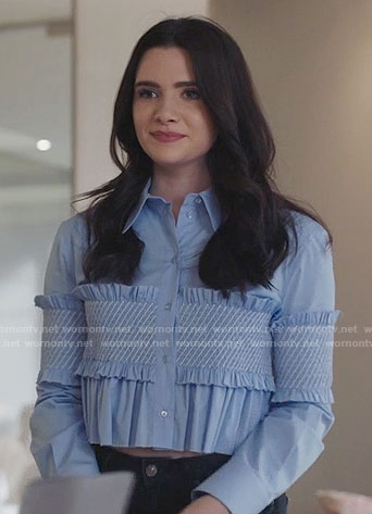 Jane's blue ruffled cropped shirt on The Bold Type