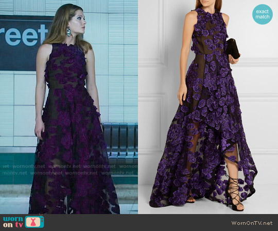 Jason Wu Floral-appliquéd fil coupé gown worn by Meghann Fahy on The Bold Type