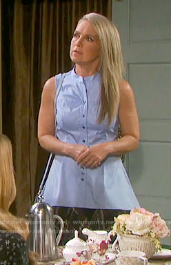 Jennifer's blue sleeveless button front shirt on Days of our Lives
