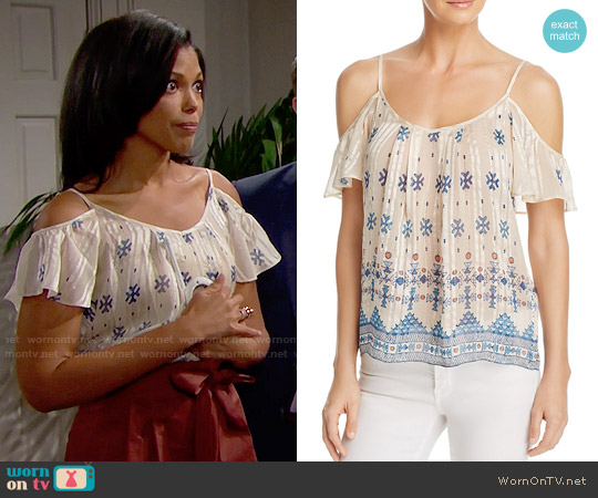 Joie Adorlee Top in Pesca worn by Maya Avant (Karla Mosley) on The Bold & the Beautiful