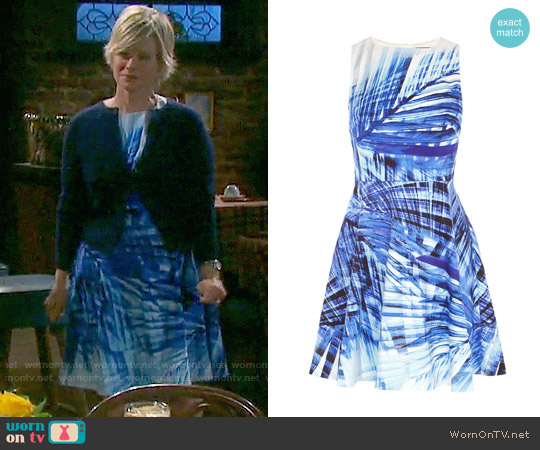 Karen Millen Blue Palm Print Dress worn by Mary Beth Evans on Days of our Lives