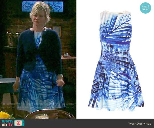 Karen Millen Blue Palm Print Dress worn by Kayla Brady (Mary Beth Evans) on Days of our Lives