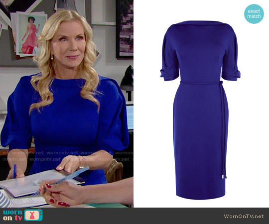 Karen Millen Tassle Waist Pencil Dress worn by Katherine Kelly Lang on The Bold & the Beautiful