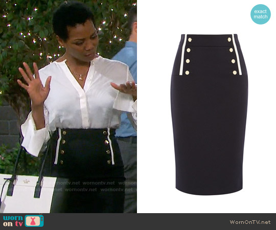 Karen Millen Button Detail Pencil Skirt worn by Vanessa Williams on Days of our Lives