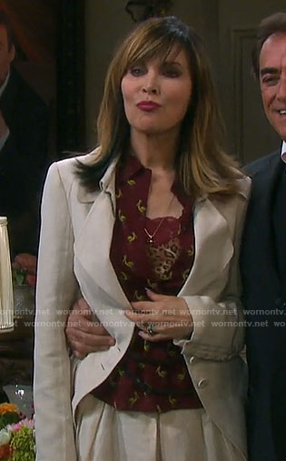 Kate's burgundy pelican print shirt on Days of our Lives