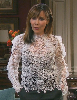 Kate's white lace top with ruffles on Days of our Lives