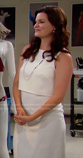 Katie's white overlay dress on The Bold and the Beautiful